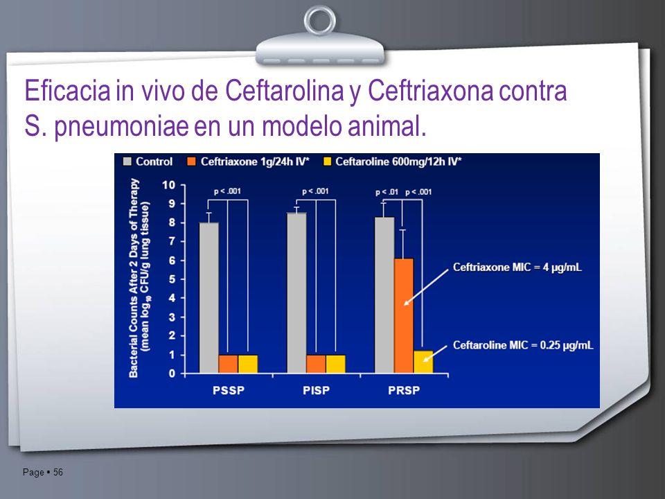 Eficacia in vivo de Ceftarolina y Ceftriaxona contra S