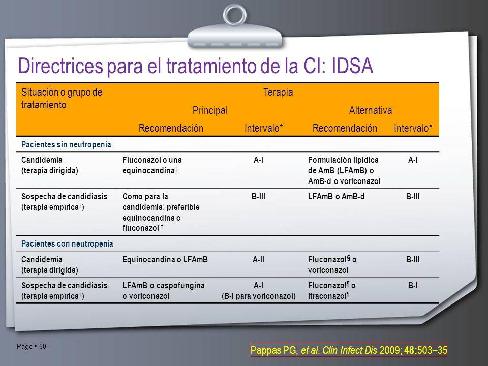Directrices para el tratamiento de la CI: IDSA