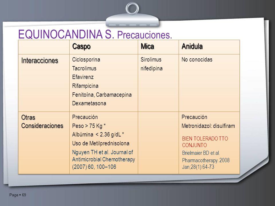 EQUINOCANDINA S. Precauciones.