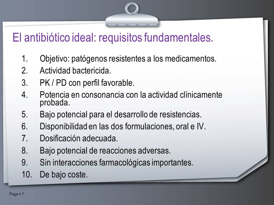 El antibiótico ideal: requisitos fundamentales.