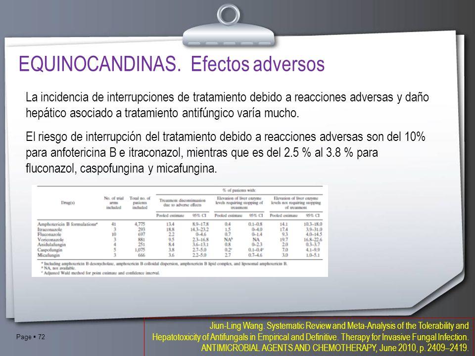 EQUINOCANDINAS. Efectos adversos