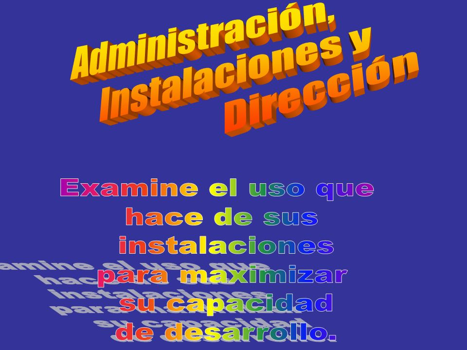 Administración, Instalaciones y. Dirección. Examine el uso que. hace de sus. instalaciones. para maximizar.