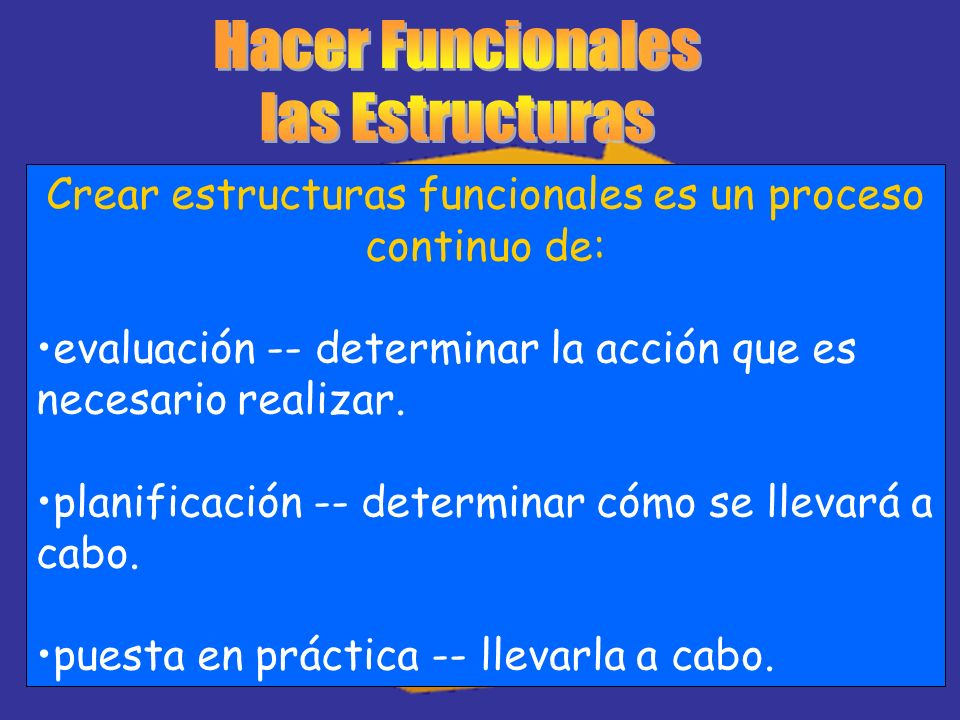 Crear estructuras funcionales es un proceso continuo de: