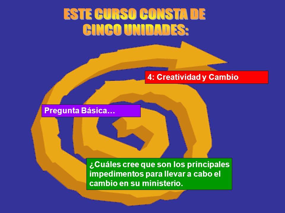 ESTE CURSO CONSTA DE CINCO UNIDADES: 4: Creatividad y Cambio