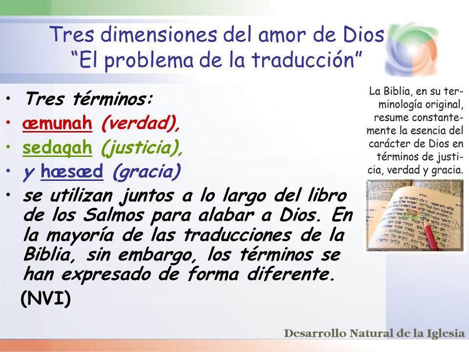 Tres dimensiones del amor de Dios El problema de la traducción