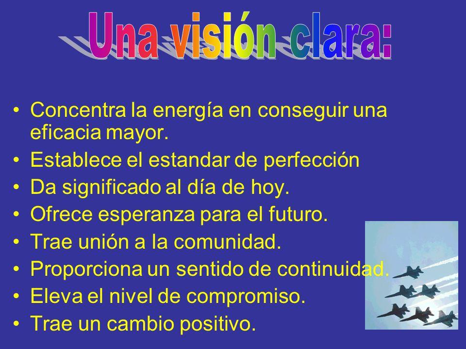 Una visión clara: Concentra la energía en conseguir una eficacia mayor. Establece el estandar de perfección.