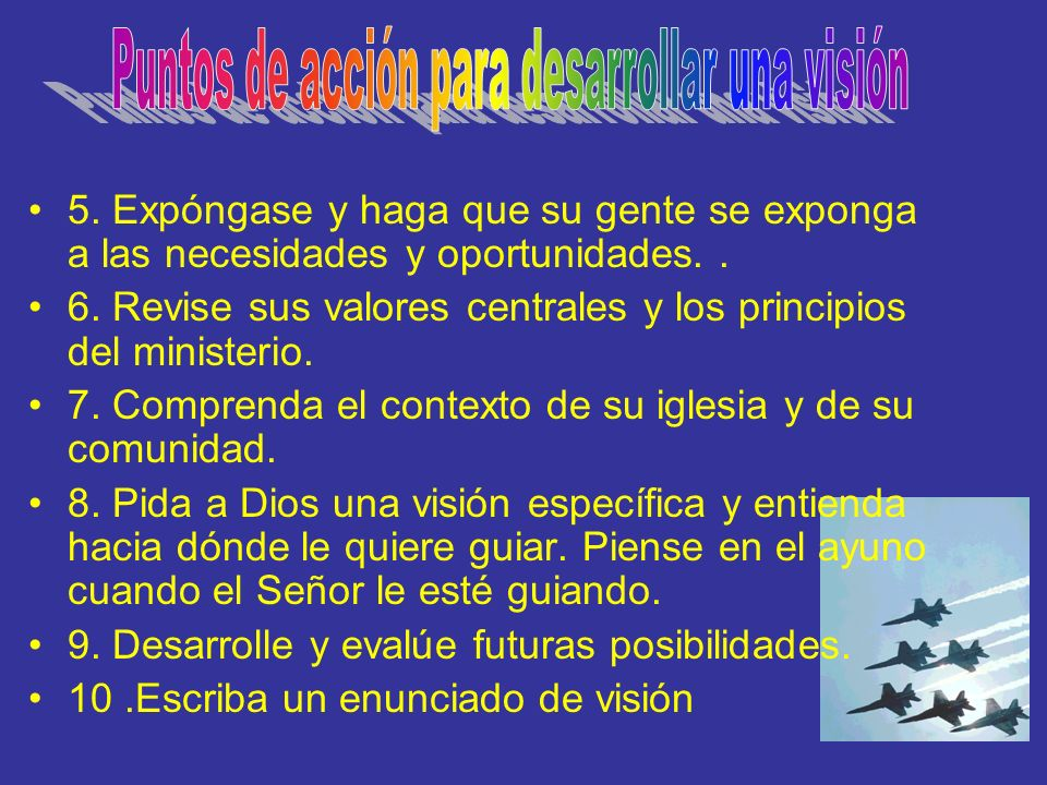 Puntos de acción para desarrollar una visión