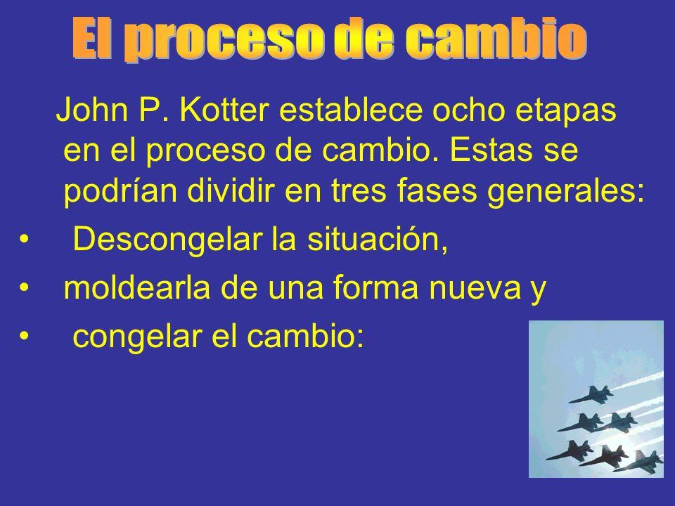 El proceso de cambio John P. Kotter establece ocho etapas en el proceso de cambio. Estas se podrían dividir en tres fases generales: