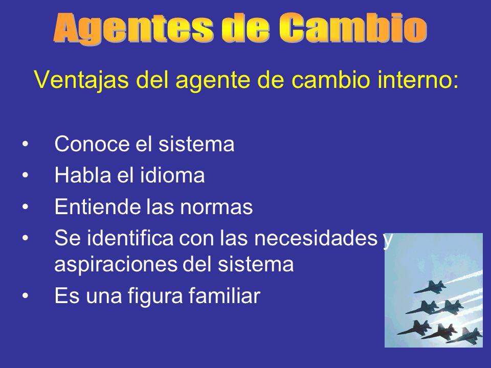 Agentes de Cambio Ventajas del agente de cambio interno: