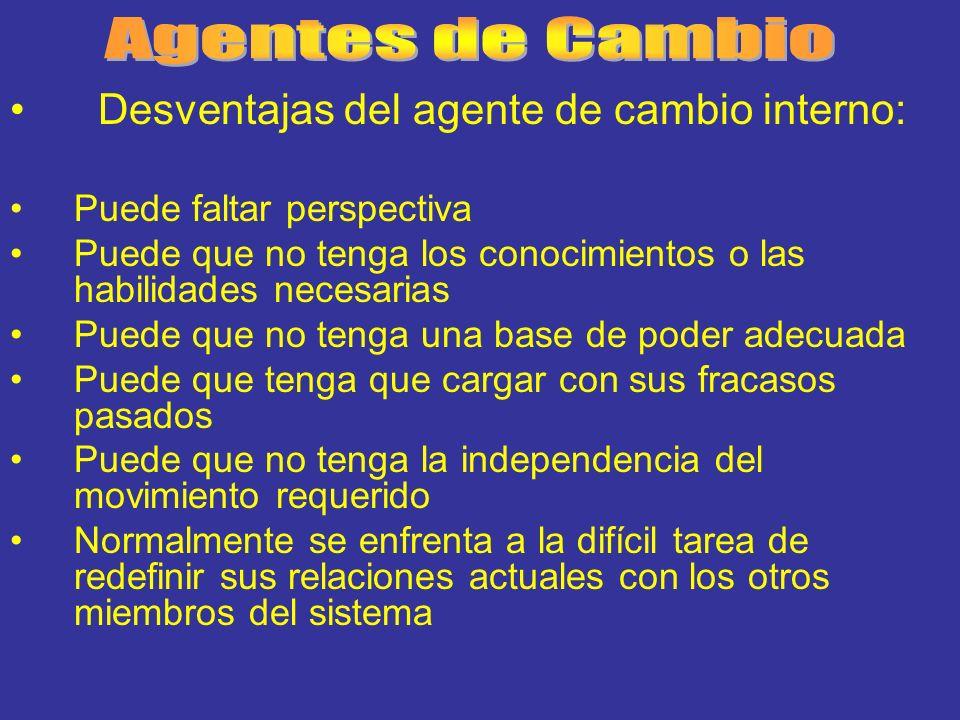 Agentes de Cambio Desventajas del agente de cambio interno:
