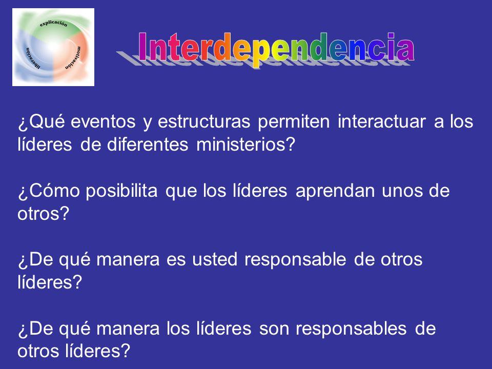 Interdependencia ¿Qué eventos y estructuras permiten interactuar a los líderes de diferentes ministerios