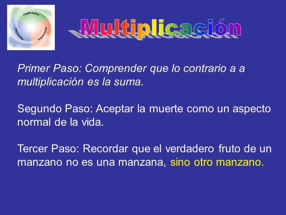 Multiplicación Primer Paso: Comprender que lo contrario a a multiplicación es la suma.