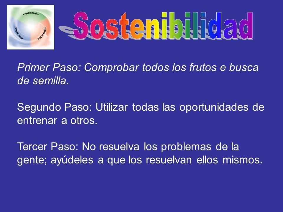 Sostenibilidad Primer Paso: Comprobar todos los frutos e busca de semilla. Segundo Paso: Utilizar todas las oportunidades de entrenar a otros.