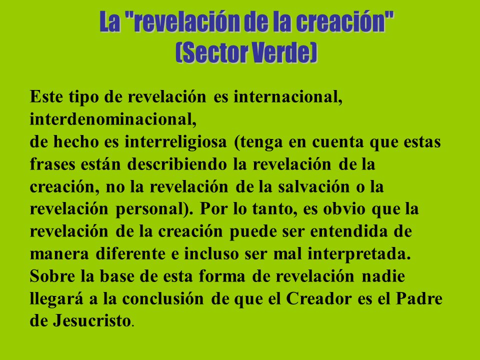 La revelación de la creación