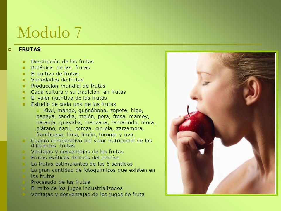 Modulo 7 FRUTAS Descripción de las frutas Botánica de las frutas
