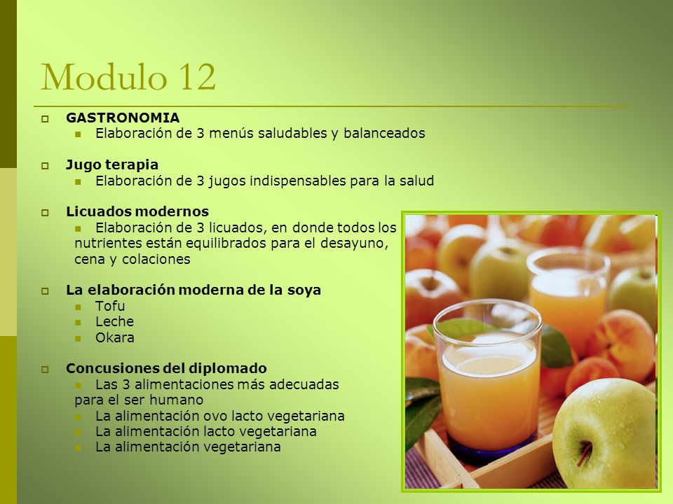 Modulo 12 GASTRONOMIA Elaboración de 3 menús saludables y balanceados
