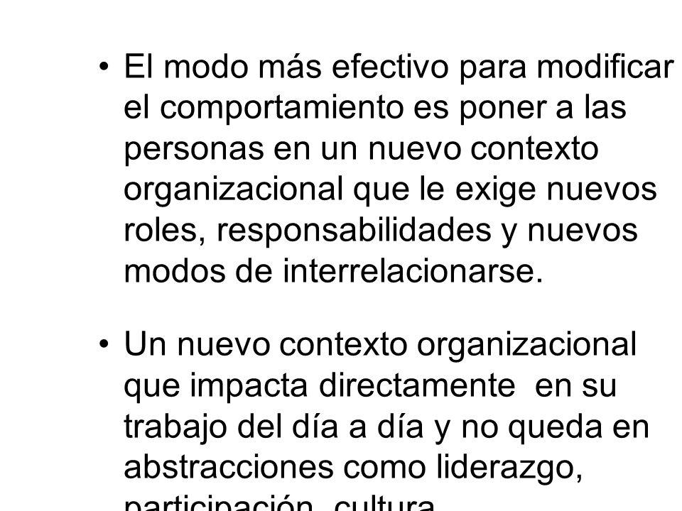 El modo más efectivo para modificar el comportamiento es poner a las personas en un nuevo contexto organizacional que le exige nuevos roles, responsabilidades y nuevos modos de interrelacionarse.