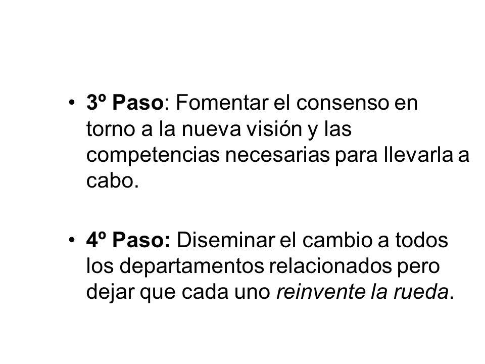 3º Paso: Fomentar el consenso en torno a la nueva visión y las competencias necesarias para llevarla a cabo.