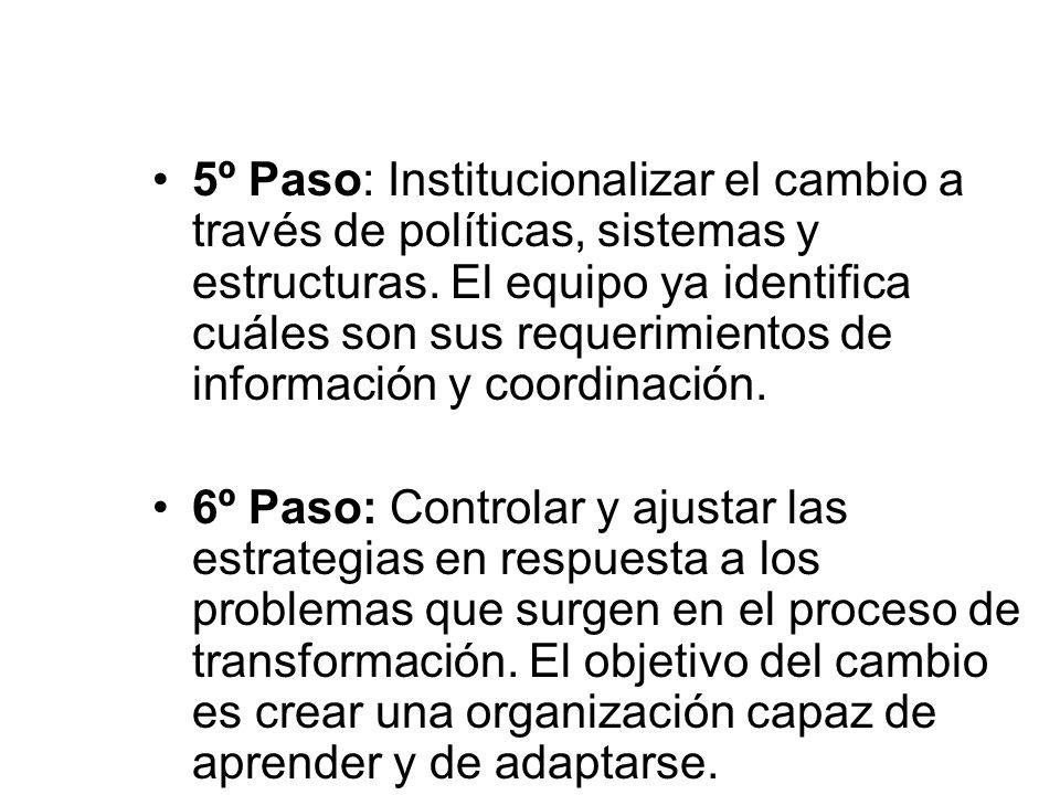5º Paso: Institucionalizar el cambio a través de políticas, sistemas y estructuras. El equipo ya identifica cuáles son sus requerimientos de información y coordinación.
