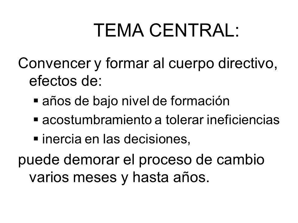 TEMA CENTRAL: Convencer y formar al cuerpo directivo, efectos de: