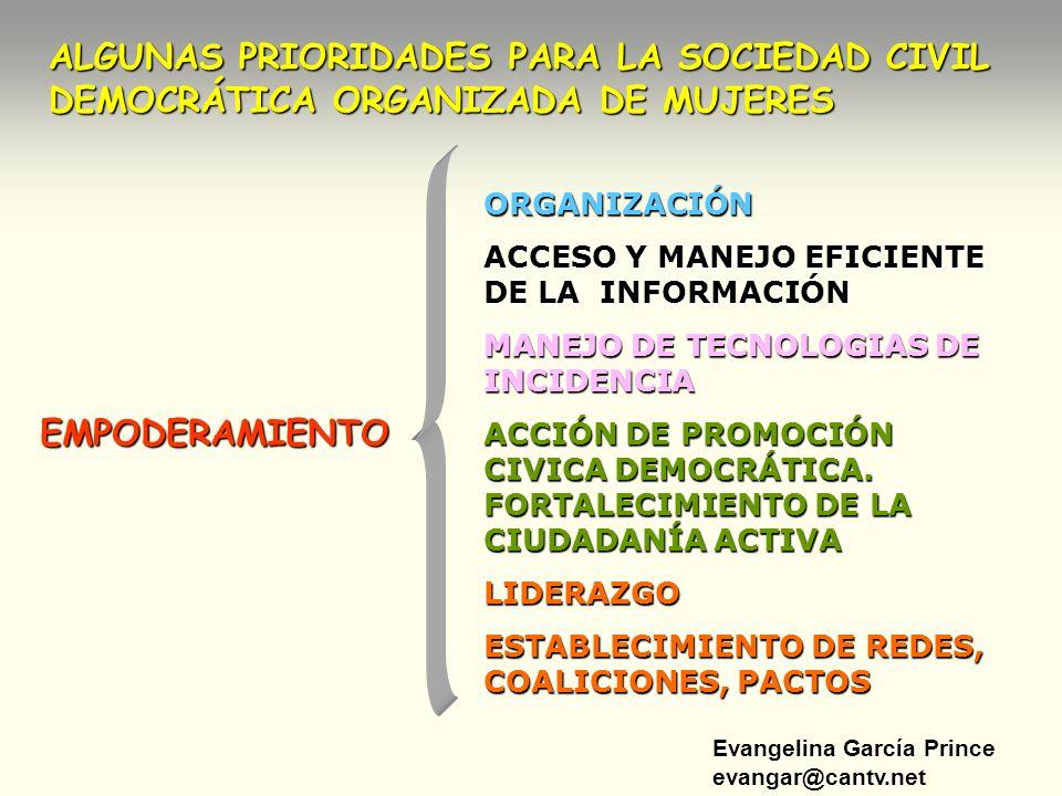 ALGUNAS PRIORIDADES PARA LA SOCIEDAD CIVIL DEMOCRÁTICA ORGANIZADA DE MUJERES
