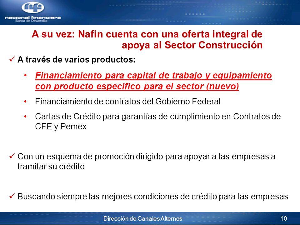 A su vez: Nafin cuenta con una oferta integral de apoya al Sector Construcción