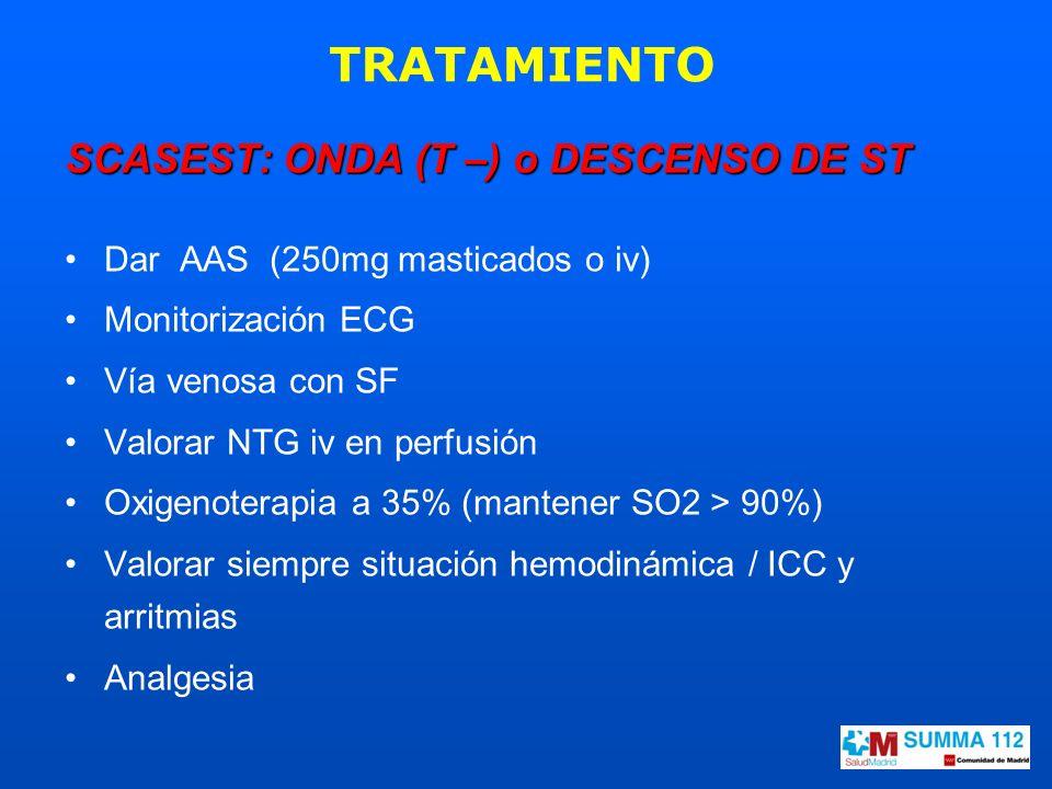 TRATAMIENTO SCASEST: ONDA (T –) o DESCENSO DE ST