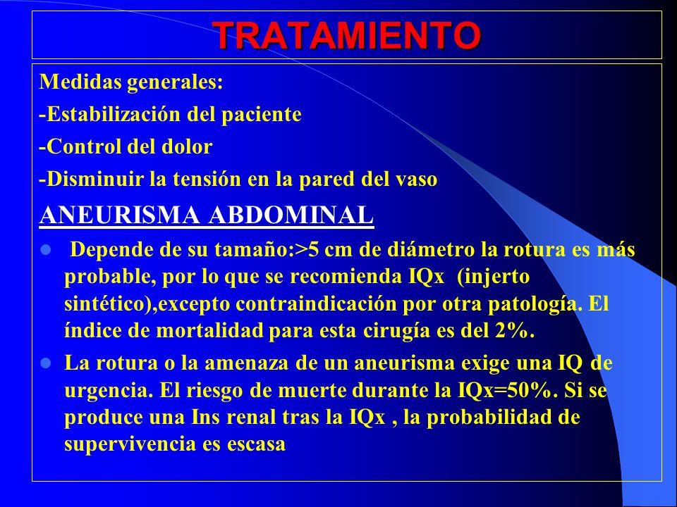 TRATAMIENTO ANEURISMA ABDOMINAL Medidas generales: