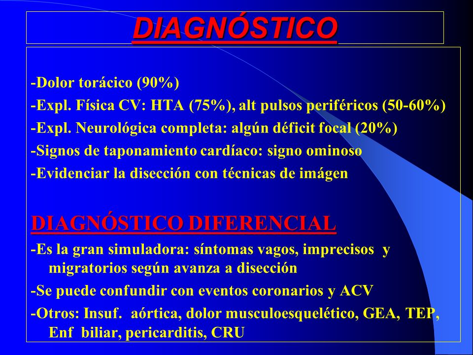 DIAGNÓSTICO DIAGNÓSTICO DIFERENCIAL -Dolor torácico (90%)
