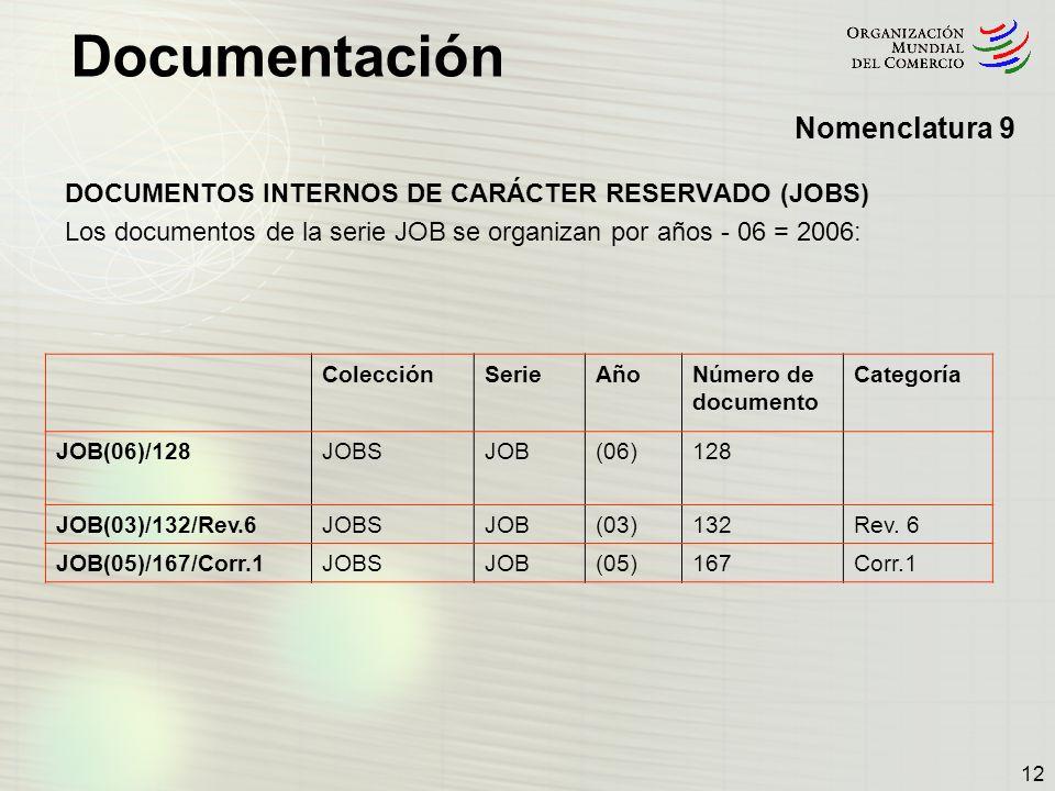 Nomenclatura 9 DOCUMENTOS INTERNOS DE CARÁCTER RESERVADO (JOBS)