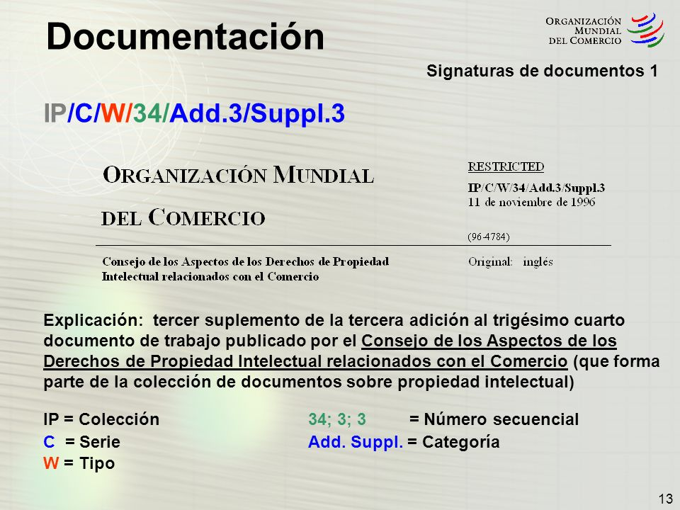 IP/C/W/34/Add.3/Suppl.3 Signaturas de documentos 1