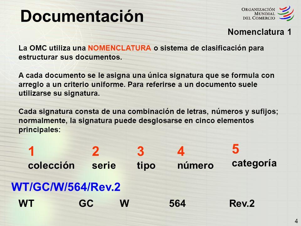 5 1 2 3 4 WT/GC/W/564/Rev.2 categoría colección serie tipo número