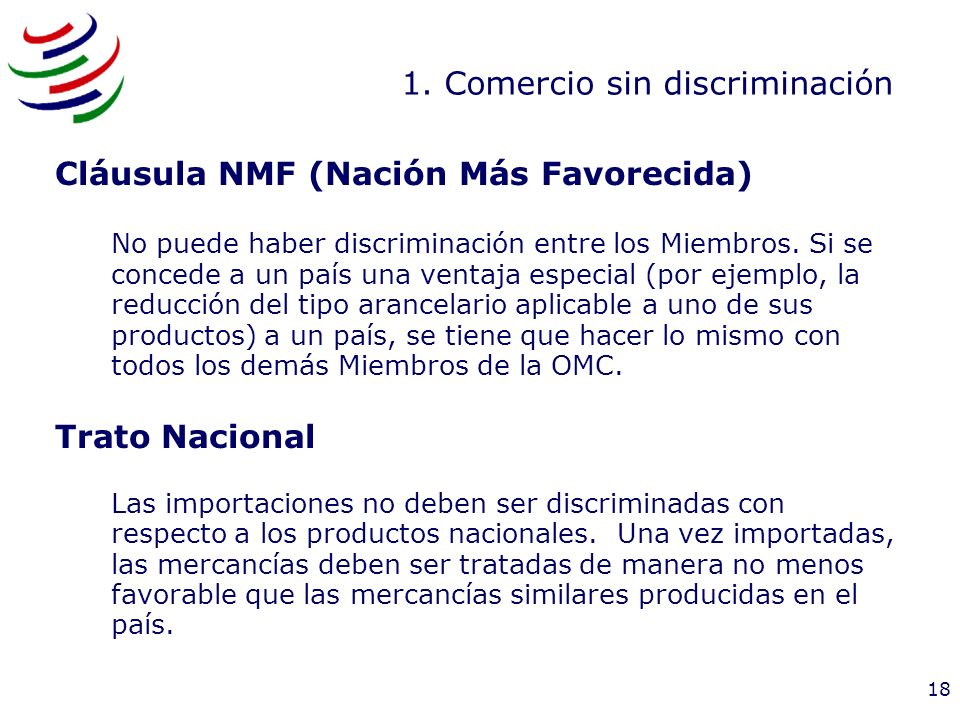 1. Comercio sin discriminación