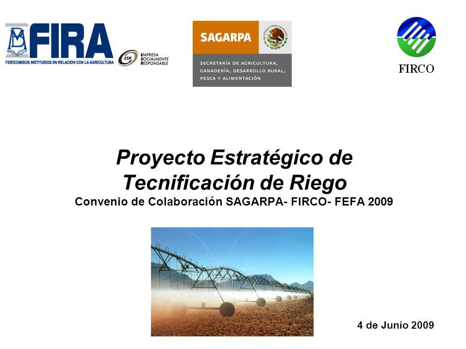 Proyecto Estratégico de Tecnificación de Riego Convenio de Colaboración SAGARPA- FIRCO- FEFA 2009