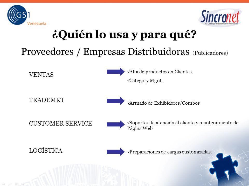 Proveedores / Empresas Distribuidoras (Publicadores)