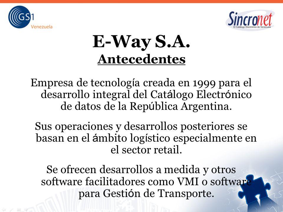 E-Way S.A. Antecedentes Empresa de tecnología creada en 1999 para el desarrollo integral del Catálogo Electrónico de datos de la República Argentina.