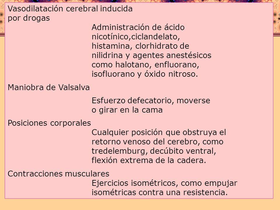 Vasodilatación cerebral inducida por drogas. Administración de ácido