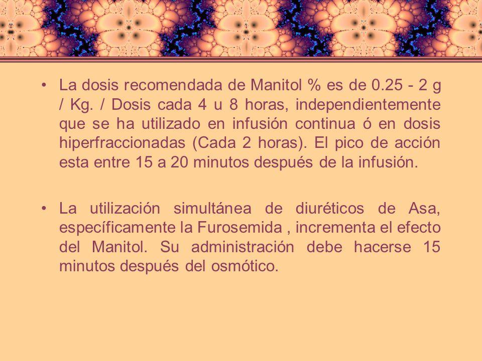 La dosis recomendada de Manitol % es de 0. 25 - 2 g / Kg