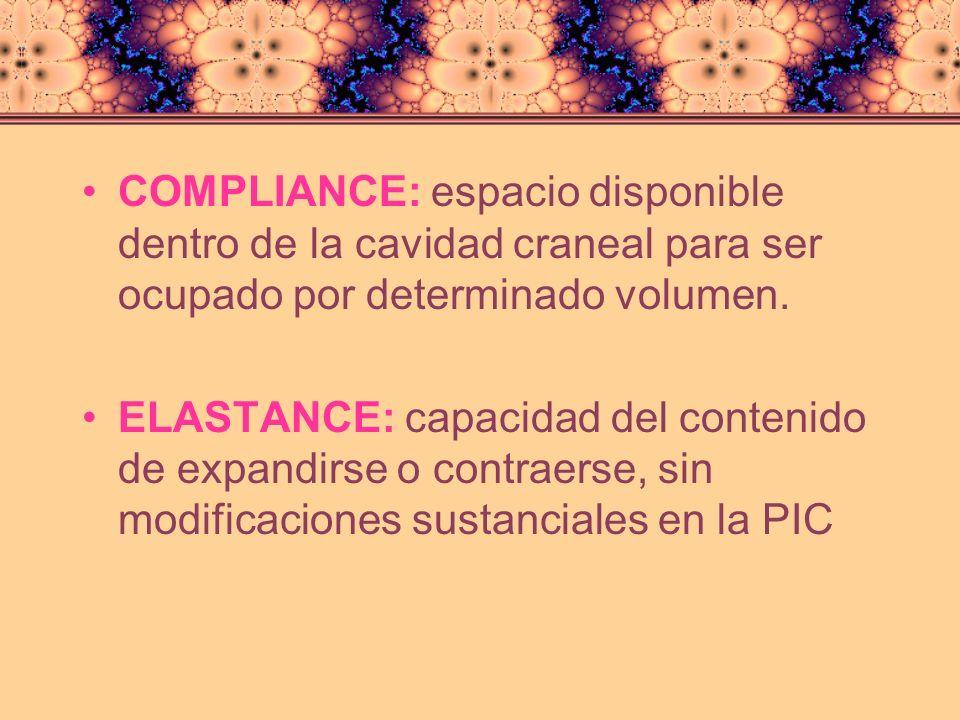 COMPLIANCE: espacio disponible dentro de la cavidad craneal para ser ocupado por determinado volumen.
