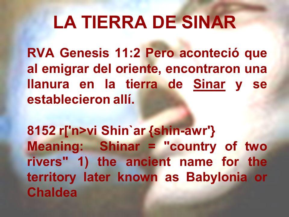 LA TIERRA DE SINARRVA Genesis 11:2 Pero aconteció que al emigrar del oriente, encontraron una llanura en la tierra de Sinar y se establecieron allí.