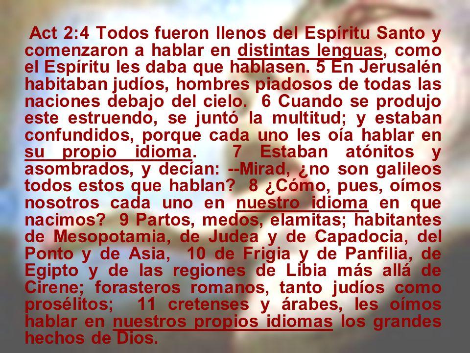 Act 2:4 Todos fueron llenos del Espíritu Santo y comenzaron a hablar en distintas lenguas, como el Espíritu les daba que hablasen.