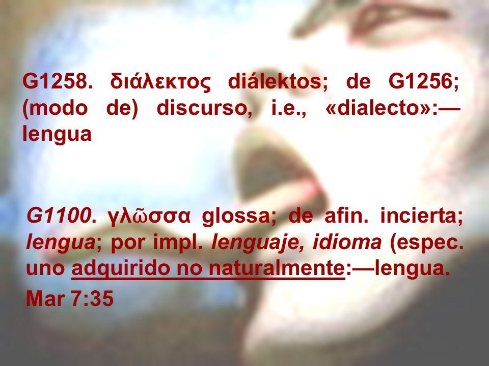 G1258. διάλεκτος diálektos; de G1256; (modo de) discurso, i. e