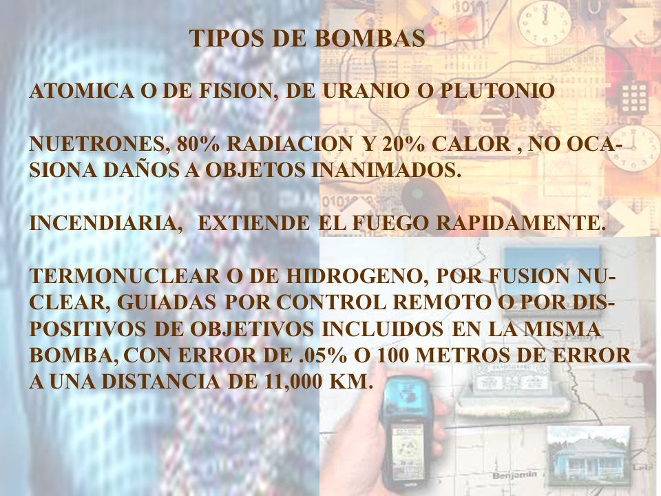 TIPOS DE BOMBAS ATOMICA O DE FISION, DE URANIO O PLUTONIO