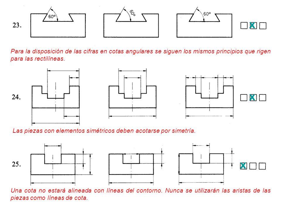 X Para la disposición de las cifras en cotas angulares se siguen los mismos principios que rigen para las rectilíneas.