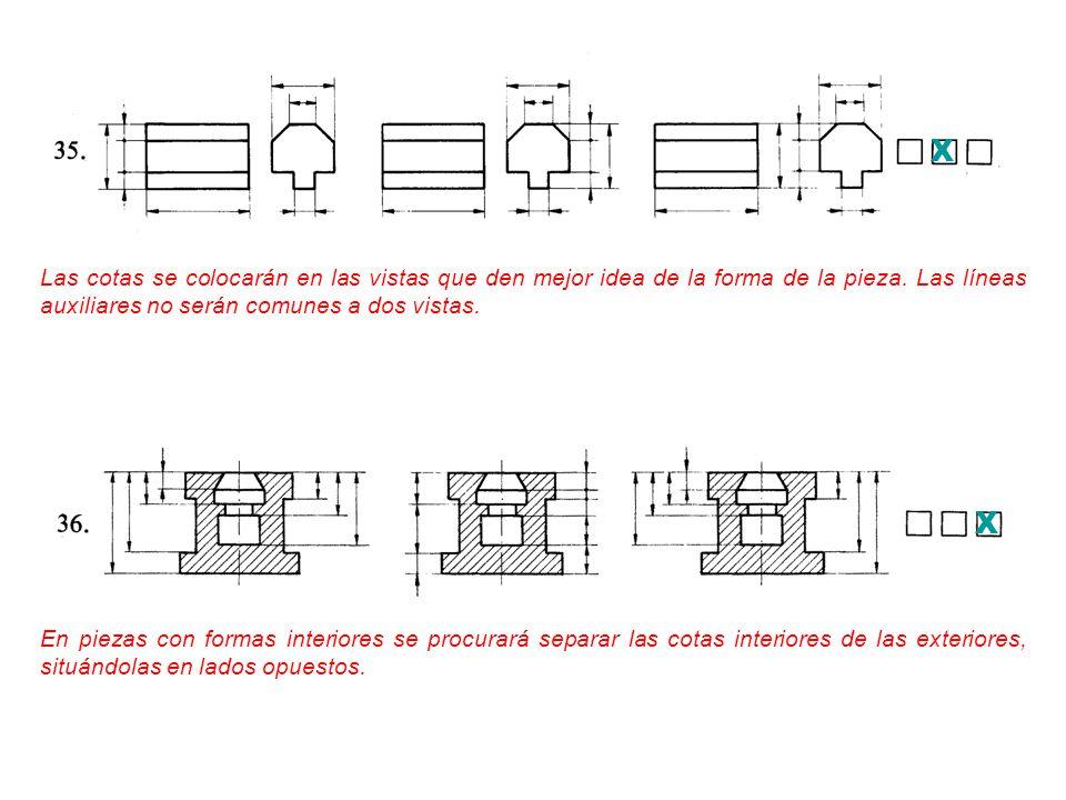 X Las cotas se colocarán en las vistas que den mejor idea de la forma de la pieza. Las líneas auxiliares no serán comunes a dos vistas.