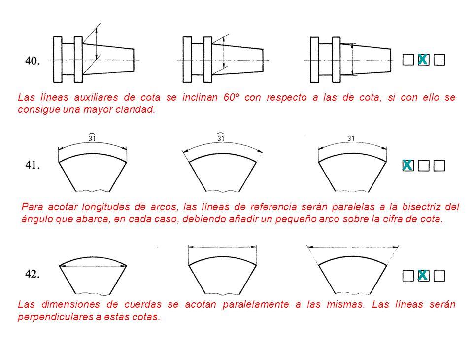 X Las líneas auxiliares de cota se inclinan 60º con respecto a las de cota, si con ello se consigue una mayor claridad.