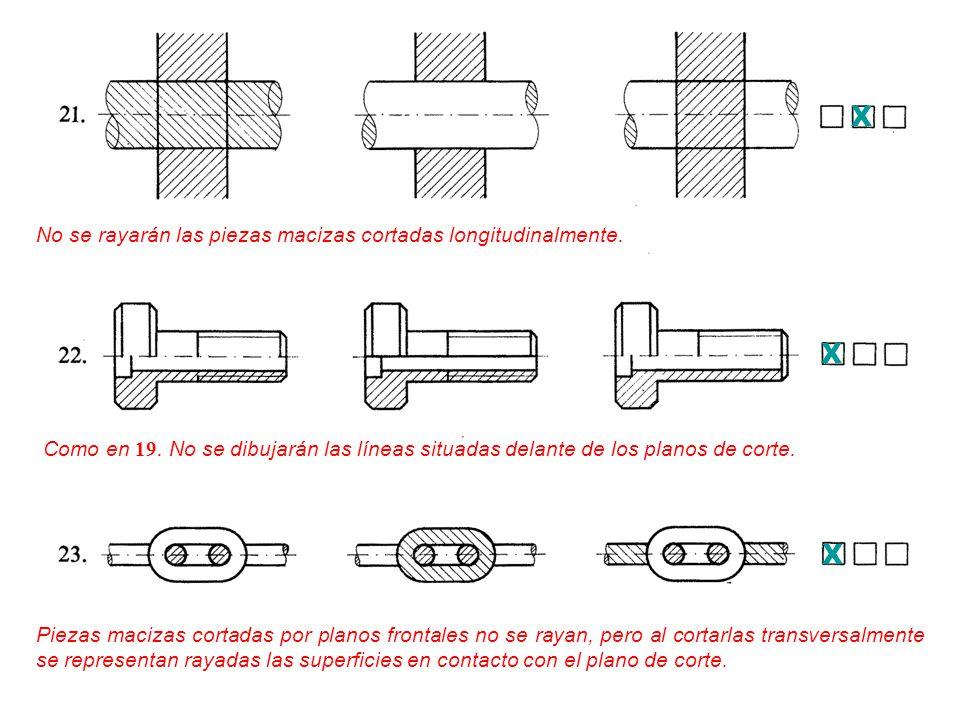 X X X No se rayarán las piezas macizas cortadas longitudinalmente.