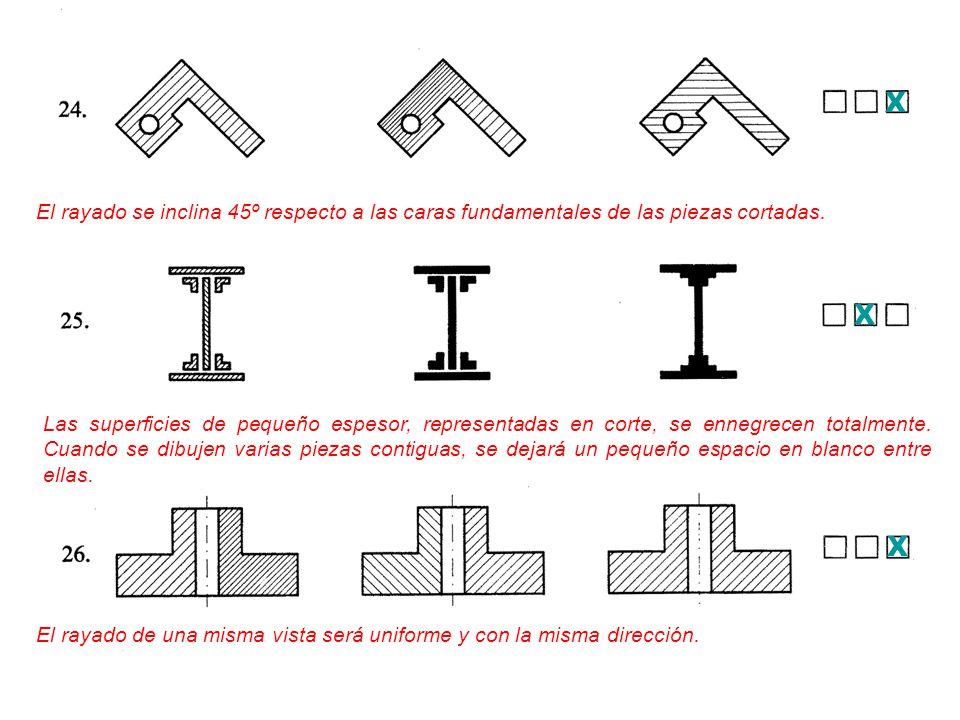 X El rayado se inclina 45º respecto a las caras fundamentales de las piezas cortadas. X.