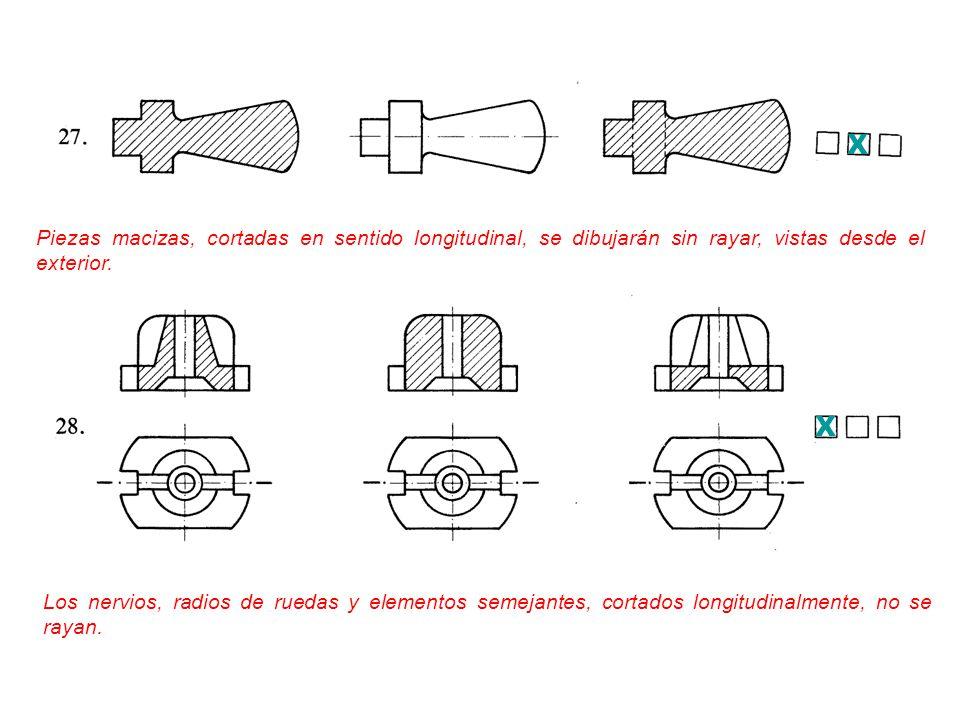 X Piezas macizas, cortadas en sentido longitudinal, se dibujarán sin rayar, vistas desde el exterior.