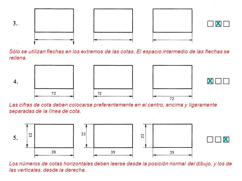 X Sólo se utilizan flechas en los extremos de las cotas. El espacio intermedio de las flechas se rellena.